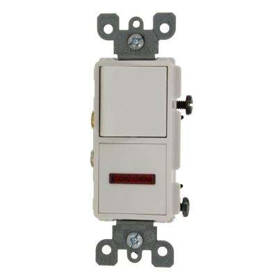 15 Amp Decora Commercial Grade Combination Single Pole Rocker Switch and Neon Pilot Light, White
