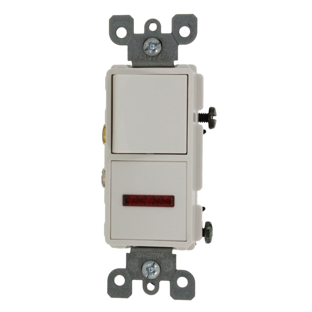 15 Amp Decora Commercial Grade Combination Single Pole Rocker Switch and
