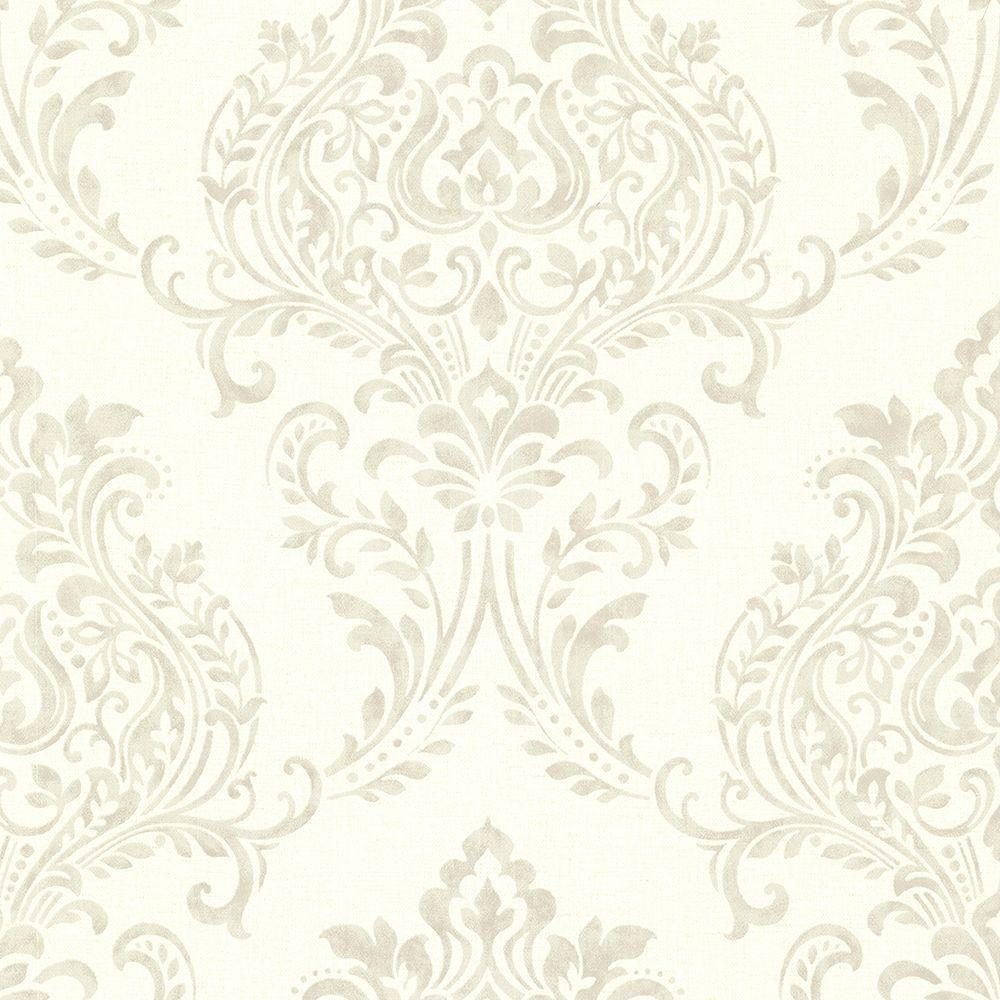 Diane Taupe Damask Wallpaper