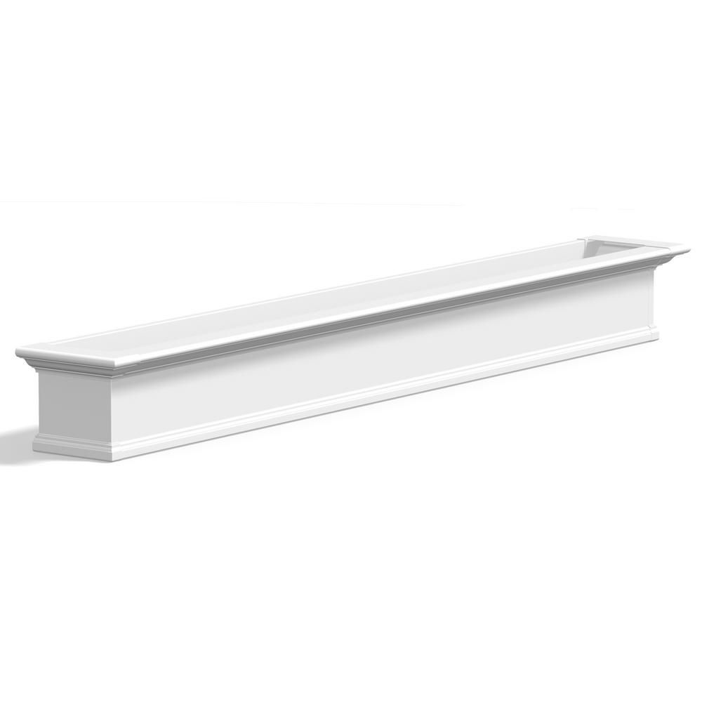 12 in. x 96 in. White Vinyl Yorkshire Window Box