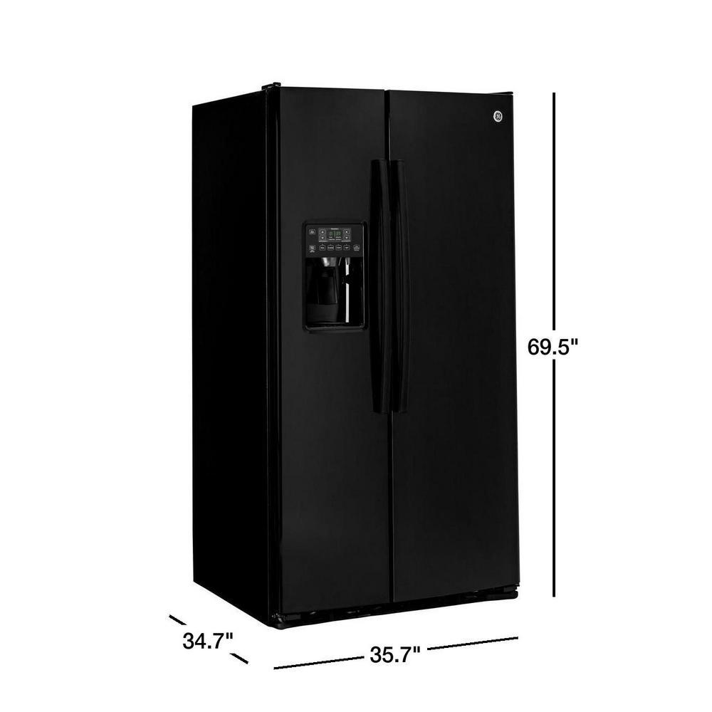 Ge 25 3 Cu Ft Side By Side Refrigerator In Black Gss25gghbb