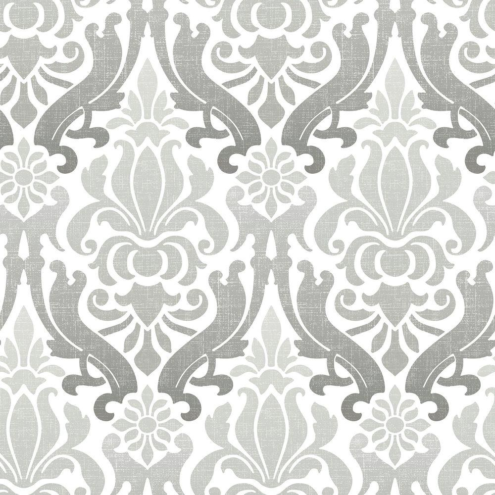 Nuwallpaper Grey Nouveau Damask L And Stick Wallpaper