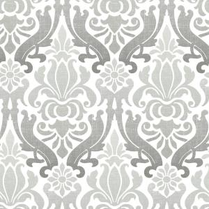NuWallpaper Grey Nouveau Damask Peel And Stick Wallpaper by NuWallpaper