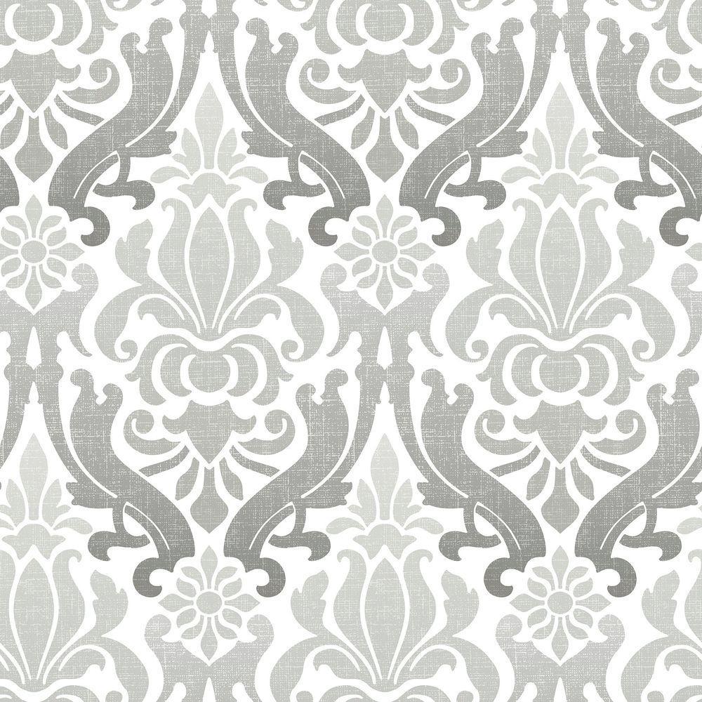 NuWallpaper Grey Nouveau Damask Peel and Stick Wallpaper Sample NU1827SAM