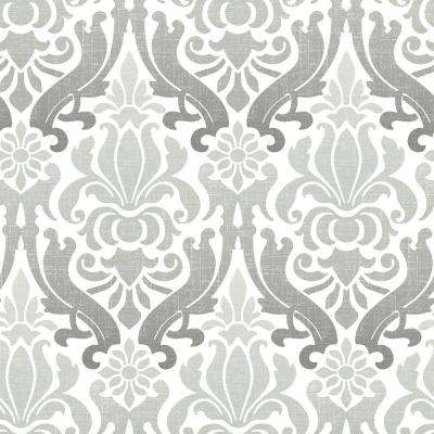 Grey Nouveau Damask Vinyl Strippable Wallpaper (Covers 30.75 sq. ft.)