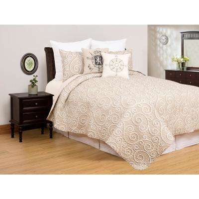 Elmont Tan Full/Queen Quilt Set