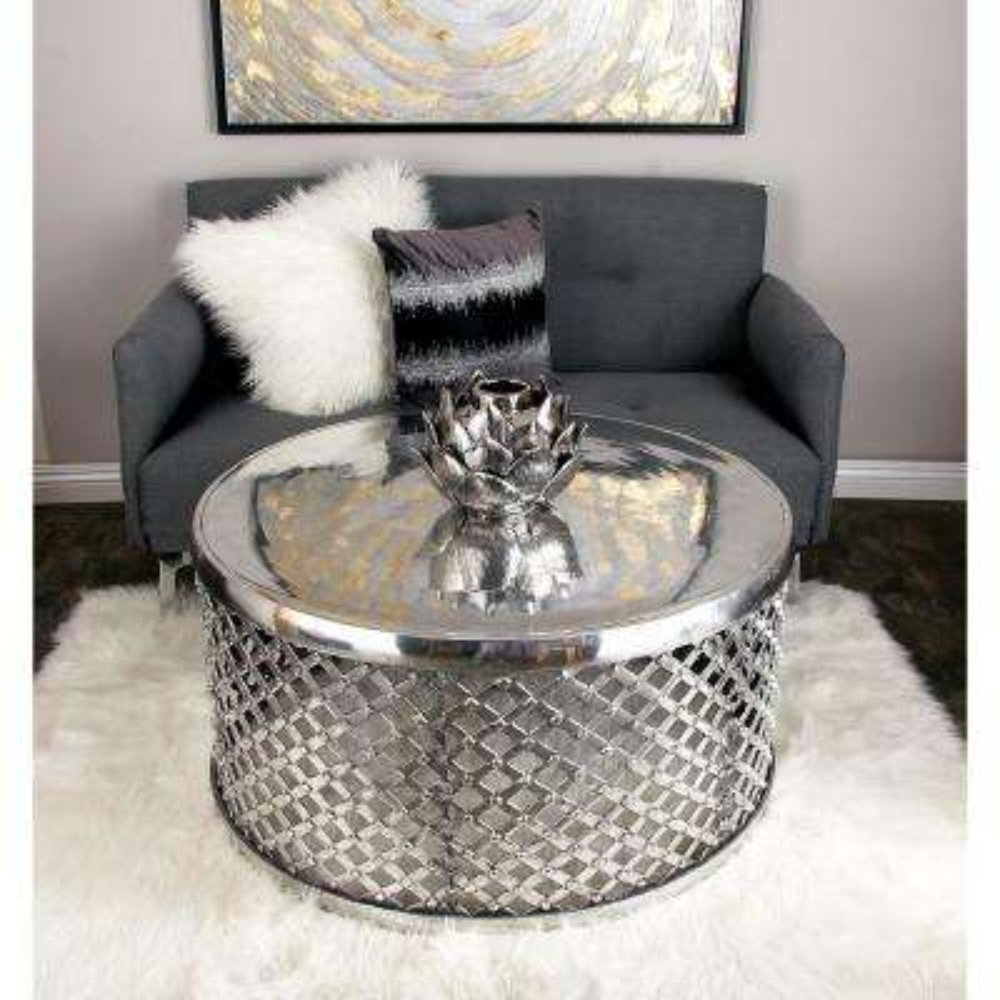 Silver Contemporary Aluminum Lattice Coffee Table