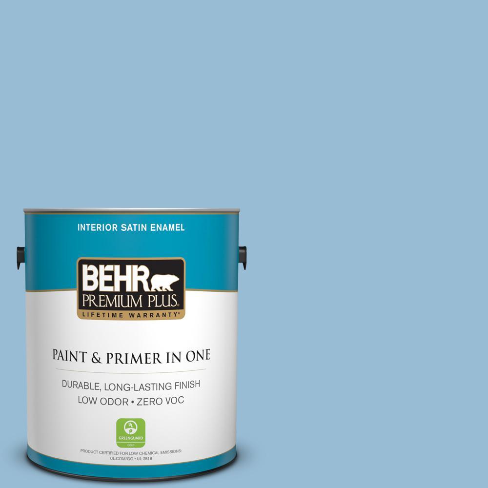 1 gal. #PPU14-11 Gentle Sky Zero VOC Satin Enamel Interior Paint