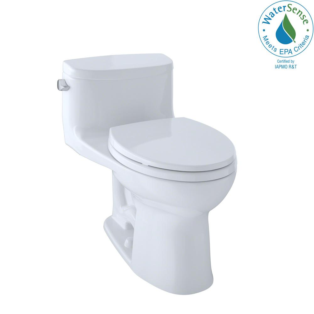 TOTO Supreme II 1-Piece 1.28 GPF Single Flush Elongated Toilet with ...