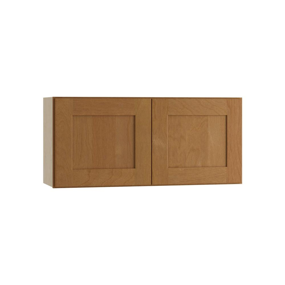Hargrove Assembled 30x15x12 in. Double Door Wall Kitchen Cabinet in Cinnamon