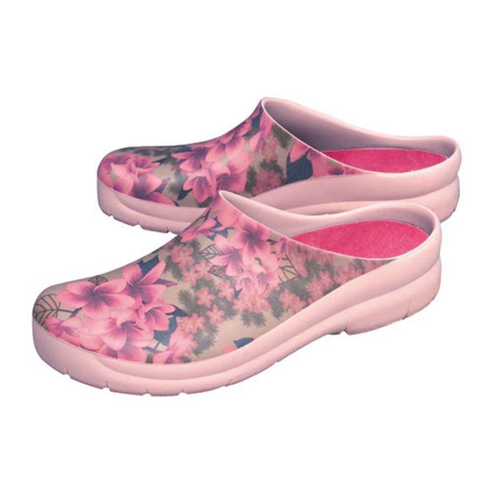 Jollys Women's Plumeria Pink Picture Clogs - Size 6