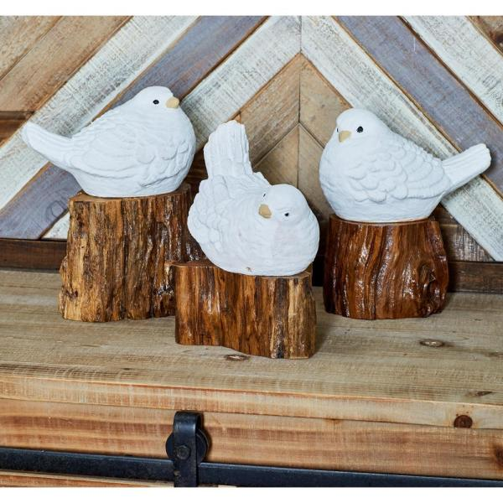 Litton Lane Bird Polystone Sculptures in White with Brown Teak Log