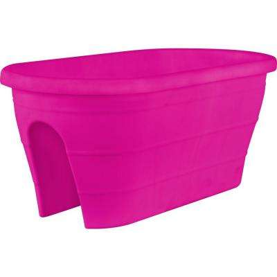 Mela 23 in. x 11 in. Pink Plastic Trough Rail Planter