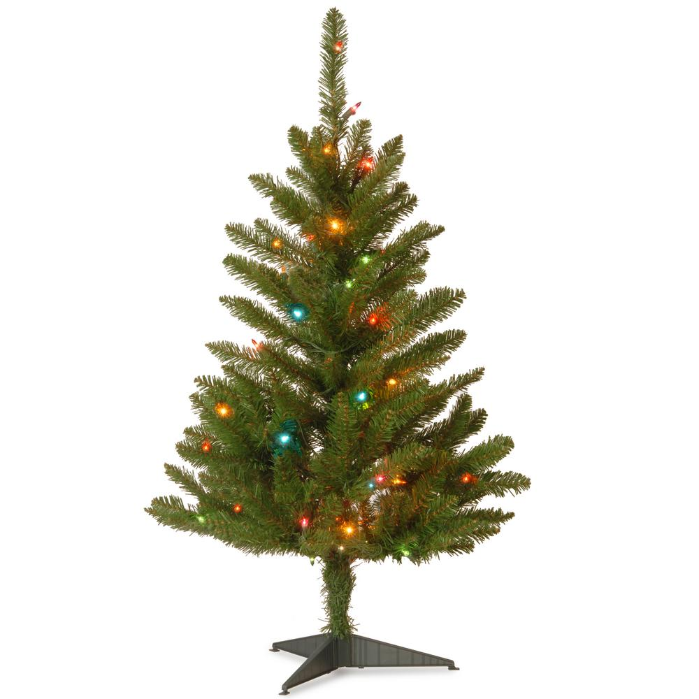 3 Foot Prelit Christmas Trees.National Tree Company 3 Ft Kingswood Fir Wrapped Pencil Artificial Christmas Tree With Multicolor Lights
