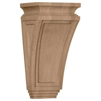6 in. x 4-3/4 in. x 12 in. Red Oak Arts and Crafts Corbel