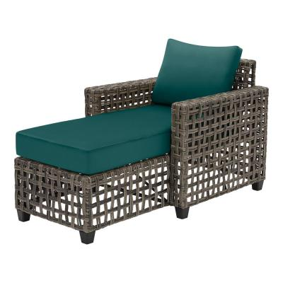 Briar Ridge Brown Wicker Outdoor Patio Chaise Lounge with CushionGuard Malachite Green Cushions
