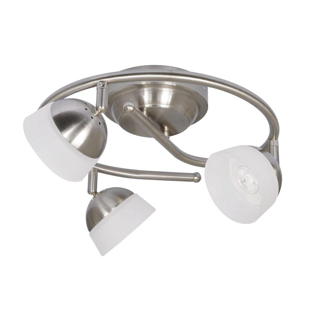 Madison 3-Light Satin Nickel LED G-Style Fixed Track Lighting