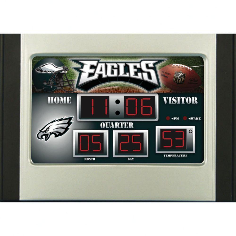 Philadelphia Eagles 6.5 in. x 9 in. Scoreboard Alarm Clock with Temperature
