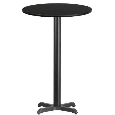 24 in. Round Black Laminate Table Top with 22 in. x 22 in. Bar Height Table Base