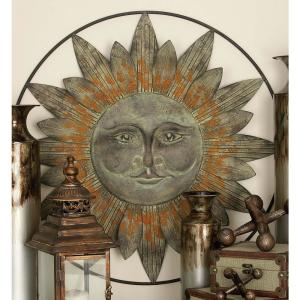 Global Inspired Bronze Finish Celestial Sun Style Iron Wall Decoration 37 in.