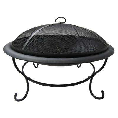 Mauna Loa 29.5 in. Circular Metal Wood Burning Outdoor Fire Pit in Black