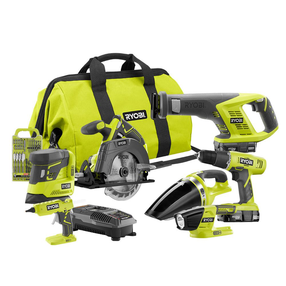 Ryobi 18-Volt ONE+ Cordless Lithium-Ion 7-Tool Combo Kit with (2) 1.3 Ah Batteries, Charger and Bag