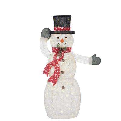 warm white led animated pvc snowman with hat and scarf
