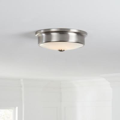 Versailles 12 in. Brushed Nickel LED Flush Mount Ceiling Light with White Glass Shade