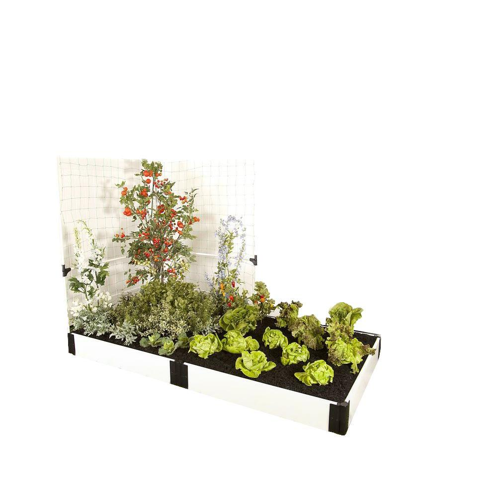 Frame It All 4 ft. x 8 ft. x 8 in. White Composite Raised Garden Bed Kit with Veggie Wall