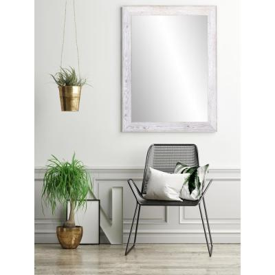 Medium Rectangle White Farmhouse Hooks Casual Mirror (32.5 in. H x 22 in. W)