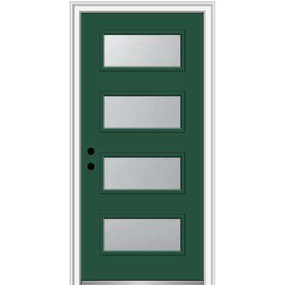 32 in. x 80 in. Celeste Right-Hand Inswing 4-Lite Frosted Glass Painted Steel Prehung Front Door on 4-9/16 in. Frame