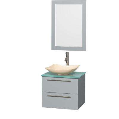 Amare 24 in. W x 19.5 in. D Vanity in Dove Gray with Glass Vanity Top in Green with Ivory Basin and 24 in. Mirror
