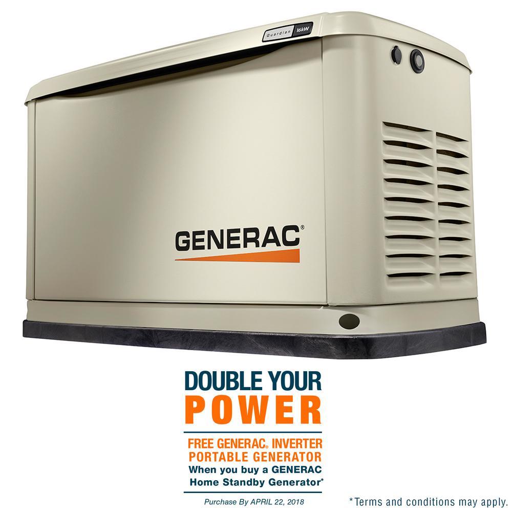 16,000-Watt (LP) 16,000-Watt (NG) Air Cooled Standby Generator