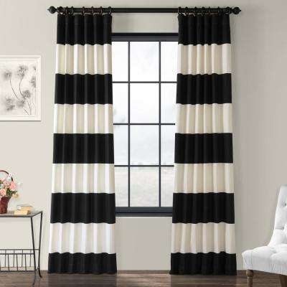 Onyx Black & Off White Horizontal Stripe Curtain - 50 in. W x 120 in. L (1 Panel)
