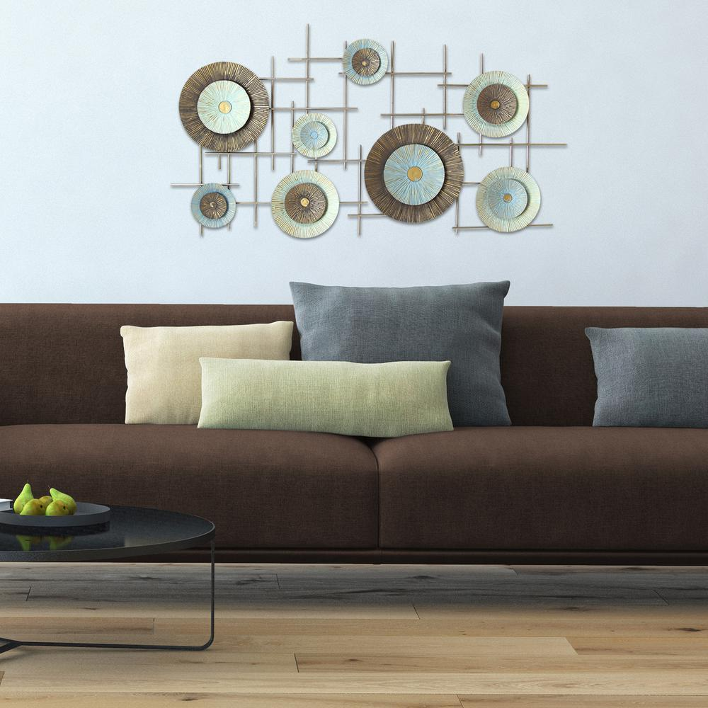 teal geometric metal wall decor