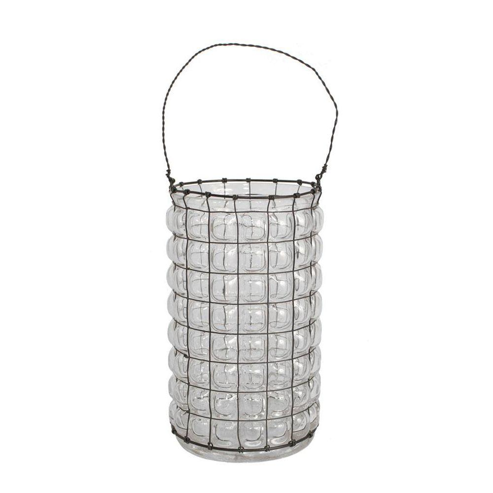 Home Decorators Collection 9 in. H Wesley Clear Hurricane Candle Holder