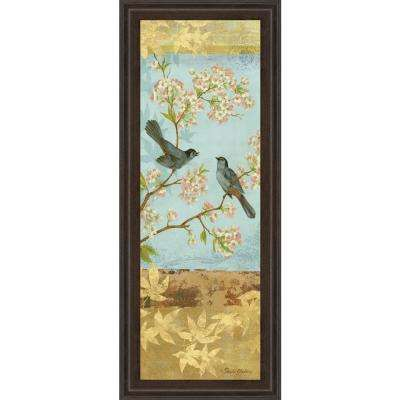 """18 in. x 42 in. """"Catbird & Blooms Panel"""" by Pamela Gladding Framed Printed Wall Art"""