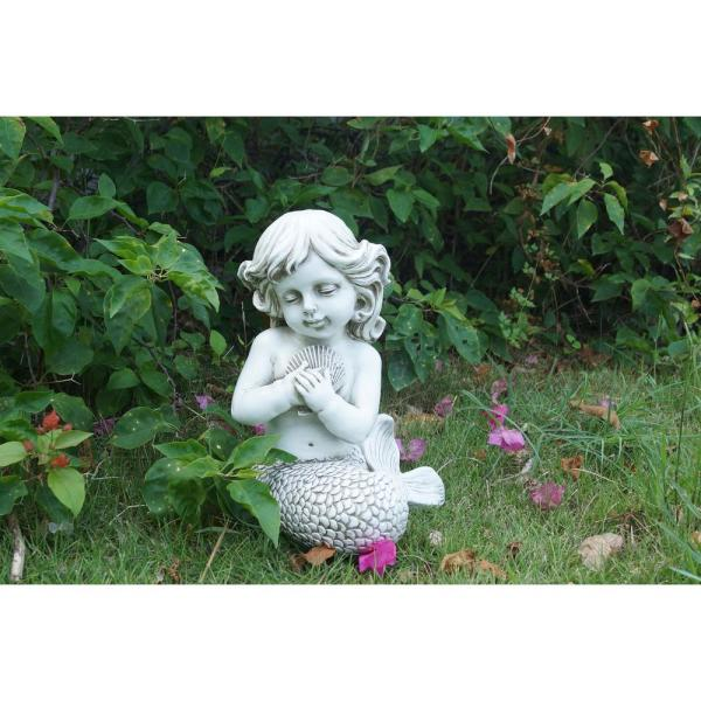 Cream Mermaid Kneeling Holding Shell
