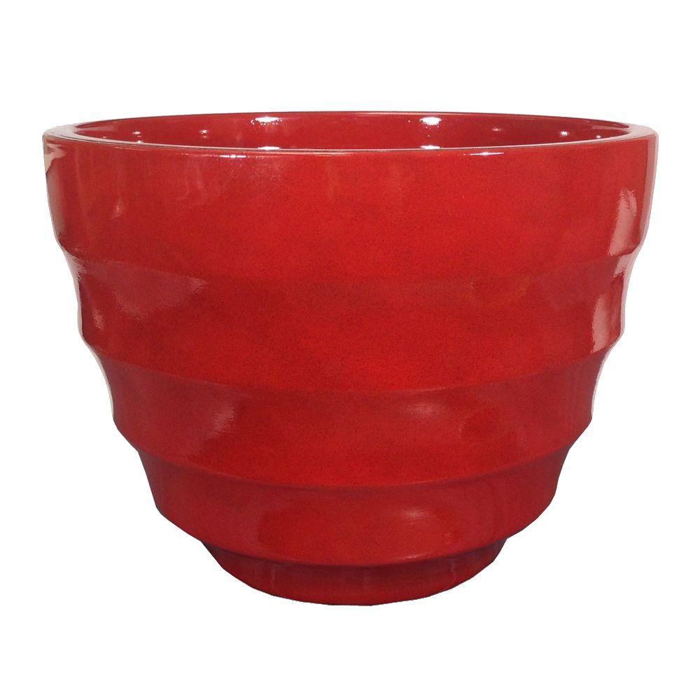 Athena 12 in. Round Ruby Resin Planter