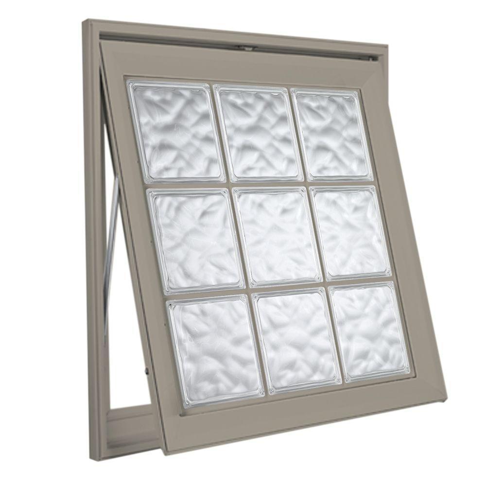 Hy-Lite 45 in. x 45 in. Acrylic Block Awning Vinyl Window - Tan