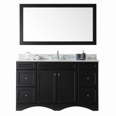Virtu USA Talisa 60 in. W Bath Vanity in Espresso with Marble Vanity Top in White with Round Basin and Mirror
