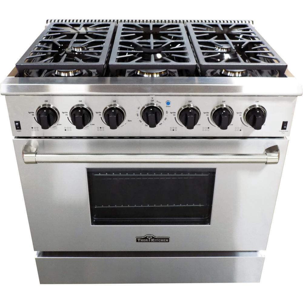Thor Kitchen 36 in. 5.2 cu. ft. 6 Burner Gas Range in ...