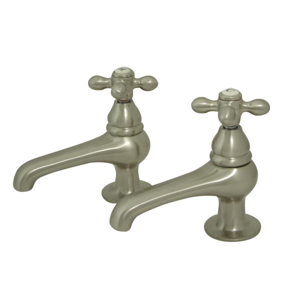 Kingston Brass Restoration Old-Fashion Basin Tap 4 in. Centerset 2-Handle Bathroom Faucet in Brushed Nickel