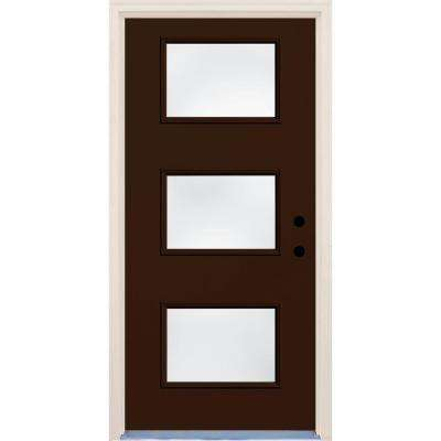 36 in. x 80 in. Left-Hand Earthen 3 Lite Clear Glass Painted Fiberglass Prehung Front Door with Brickmould