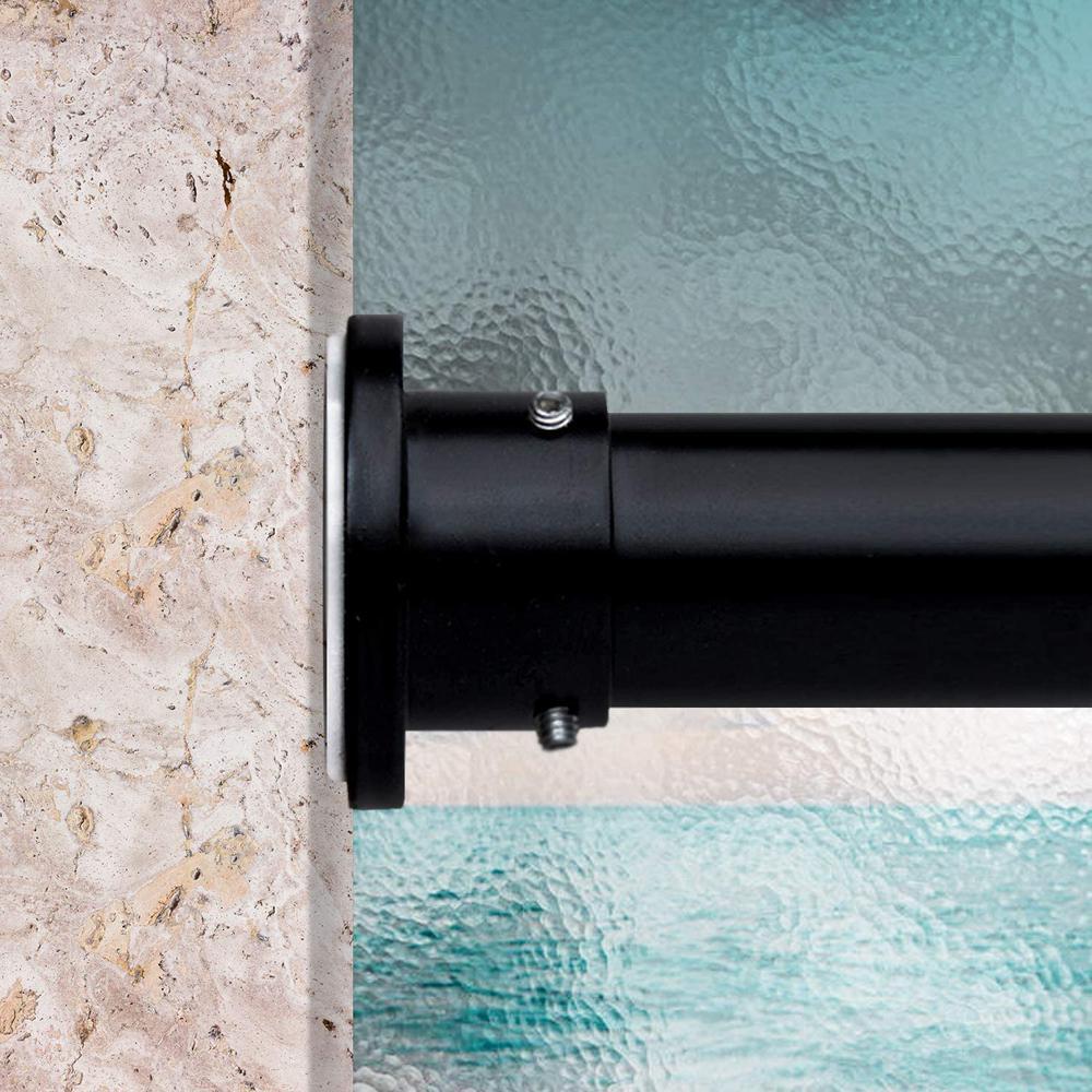 48 in. - 80 in. Premium Tension Curtain Rod in Black