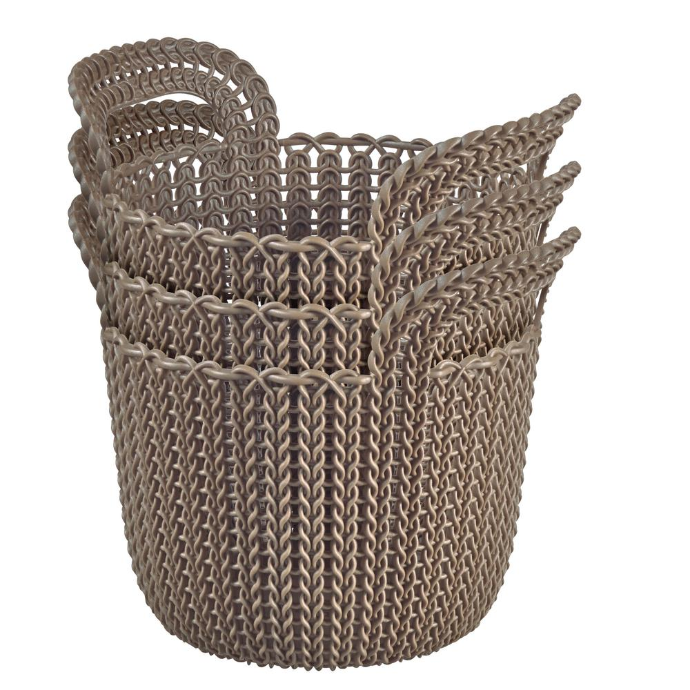 3.0 Qt. Knit Round X-Small Storage Basket Set in Harvest Brown
