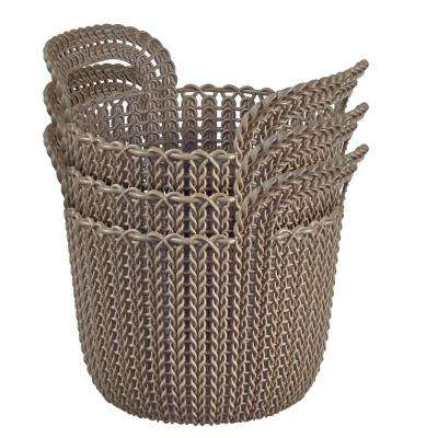 3.0 Qt. Knit Round X-Small Storage Basket Set in Harvest Brown (3-Piece Set)