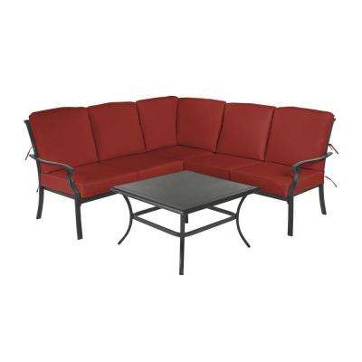 Redwood Valley Black 4-Piece Steel Outdoor Patio Sectional Sofa Set with Sunbrella Henna Red Cushions