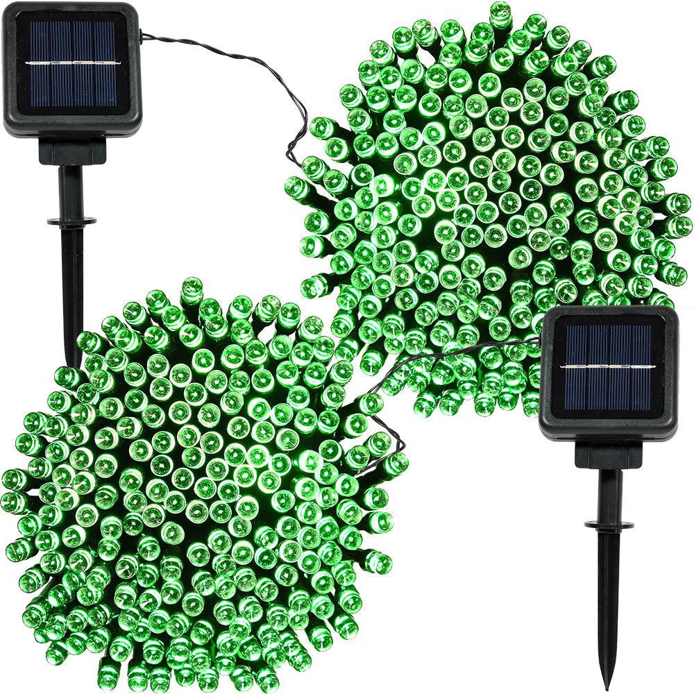 200-Light Outdoor 68 ft. Solar Round Mini LED String Light Set in Green (2-Pack)