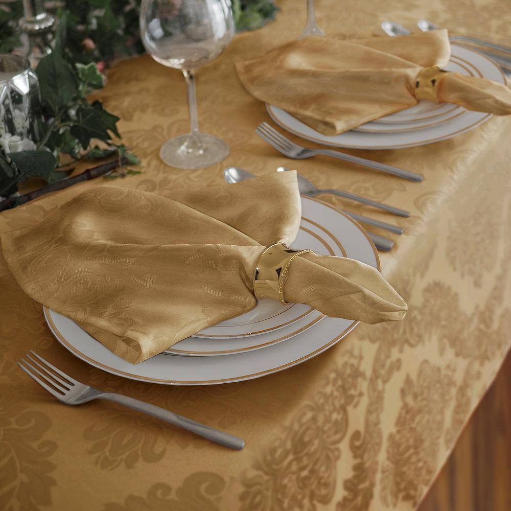 17 in. W x 17 in. L Elrene Barcelona Damask Gold Fabric Napkins (Set of 4)